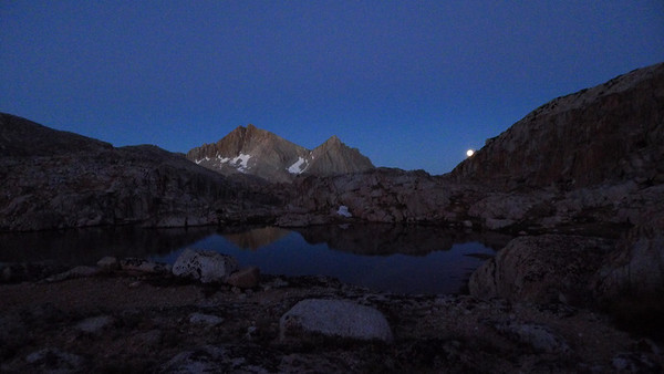I snapped this photo from my tent as I woke up. We hope to be standing on top of that peak in a few hours!