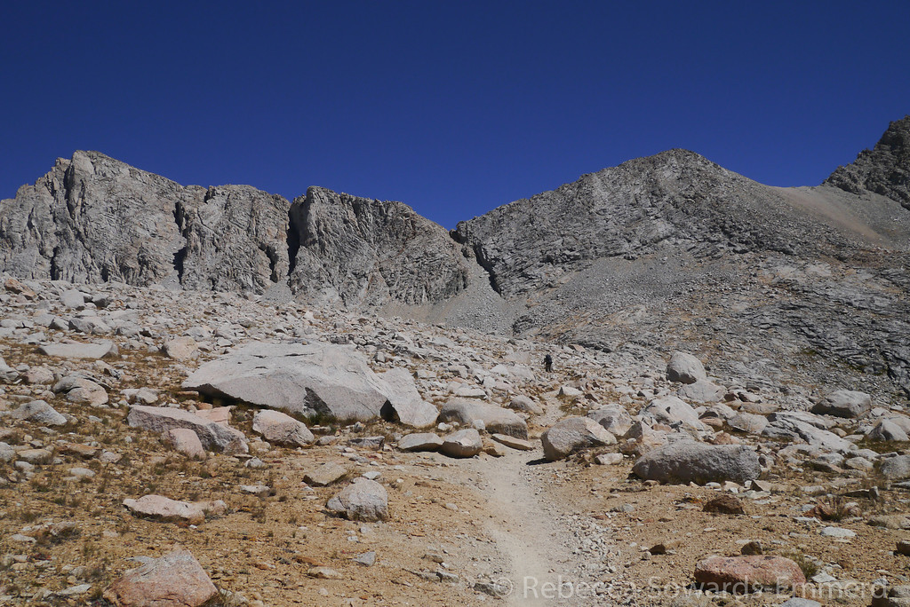 Kearsarge Pass ahead. Believe it or not a trail switchbacks up that thing to the pass.