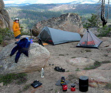 My Tarptent Cloudburst on the left, David's Integral Designs bug liner on the right