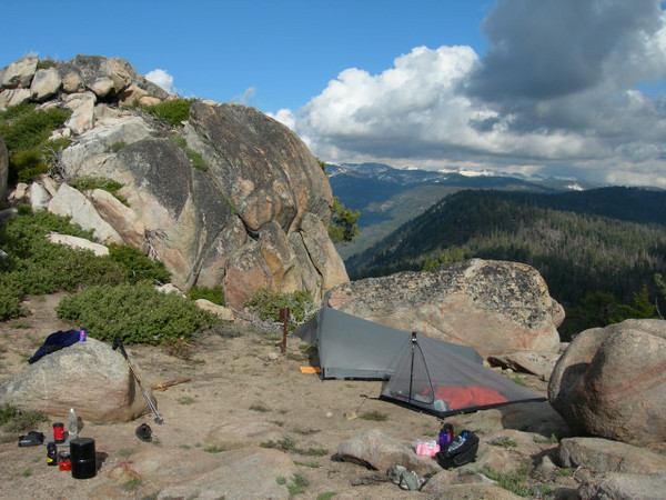 Campsite shot. The summit is the rock to the left