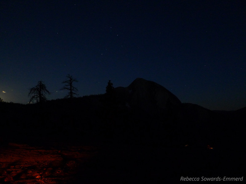 Scorpio above Half Dome and campfire glow