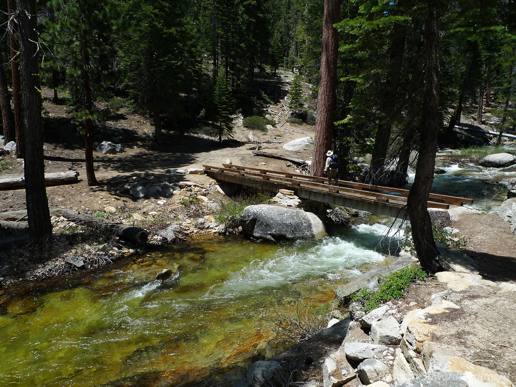 After a ~2000 ft descent we're at Snow Creek. The water is perfect right now - fresh and cold with some great fishing holes.