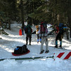Dave, the Bowlders, and Navi at the trailhead.<br /> <br /> This was the busiest sno-park I've ever seen