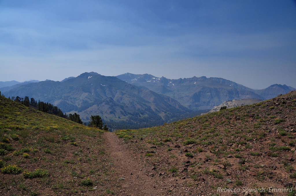 View south from the pass. Smoke hangs over northern Yosemite and Emigrant Wilderness