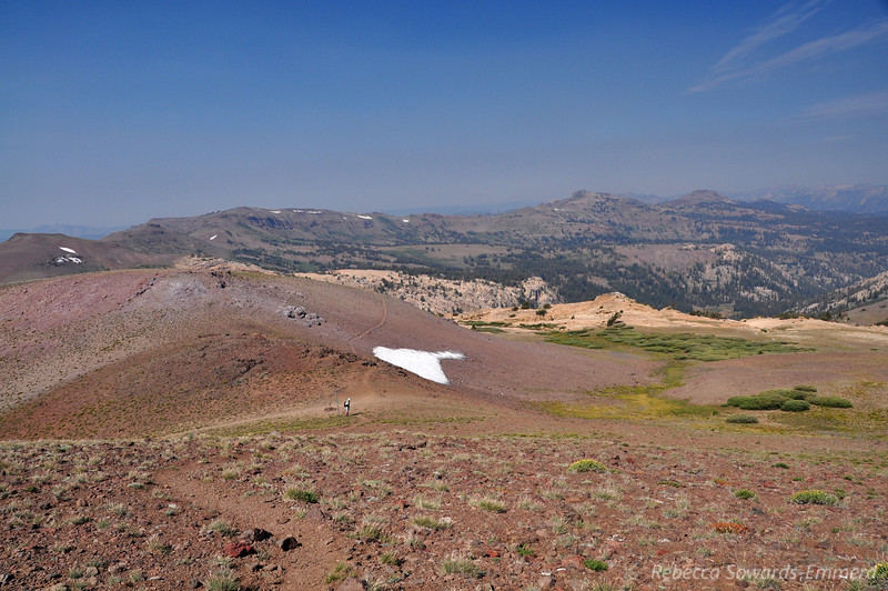 I start up the side trail to Sonora Peak while David finishes a snack at the pass. There' still a little bit of snow up here, how cute.