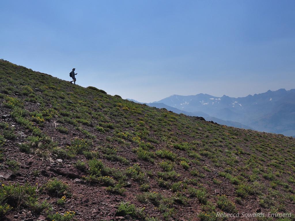 David on his way down the peak.