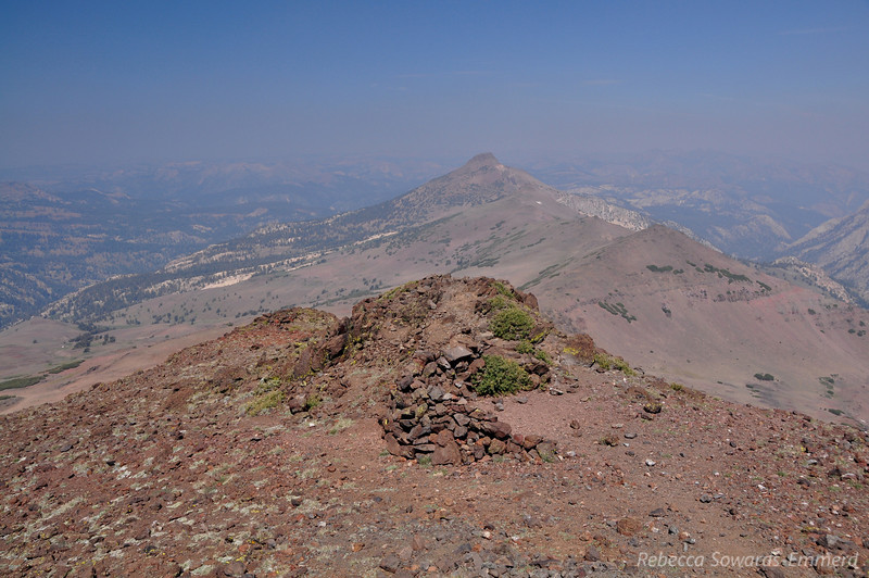 Wind shelter on the summit and view to the north. So smoky - I bet it's great when the air is clear.