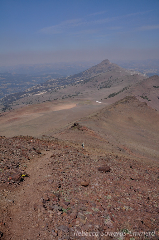 Climbing the ridge to Sonora Peak, Stanislaus Peak in the distance. Layer of smoke visible over distant peaks.