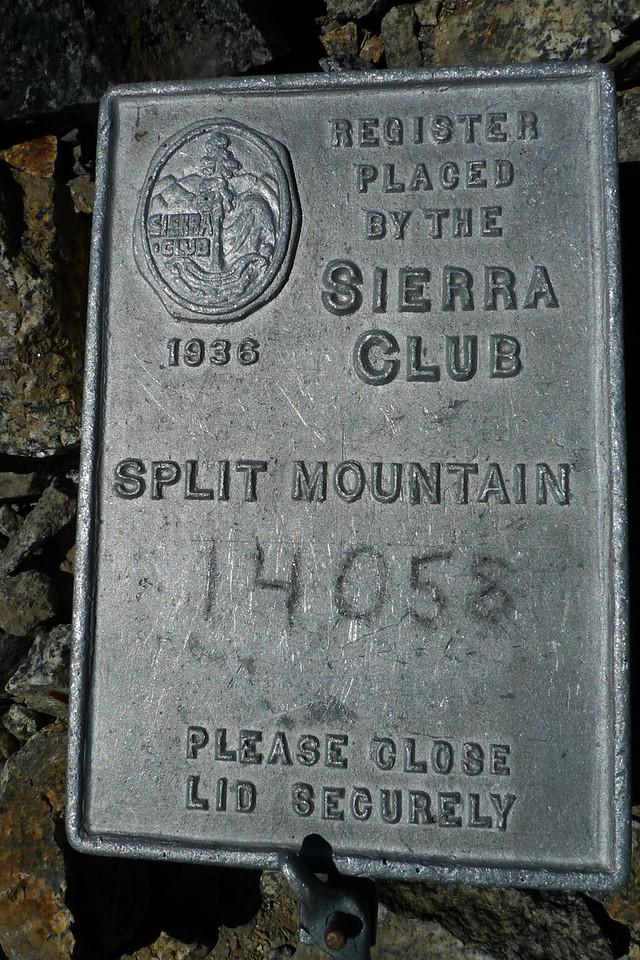 Split Mountain Sierra Club register box