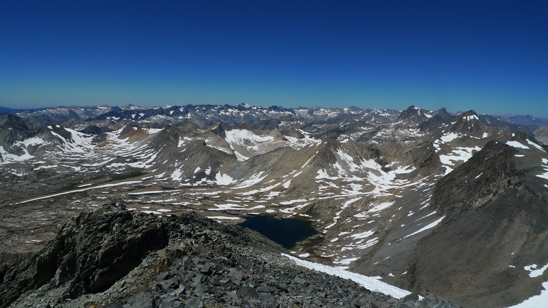 Mather Pass and Lake 3535. Higher peaks on the right are part of the Palisade Crest (a chain of 14ers). Everything else is below us.