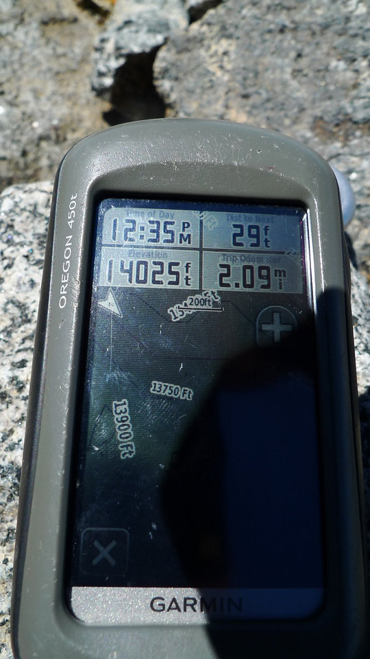 My GPS isn't completely accurate but it has us above 14k. About 2 miles of pretty easy cross country from our campsite at 11,600 ft.