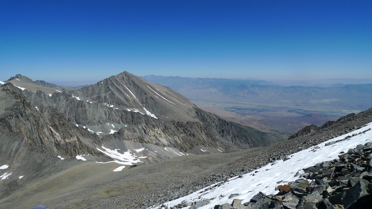Taking a break next to the first big snow patch. We can see Big Pine from here.