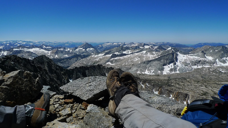 Now this is the life. Arrow peak and Bench Lake are visible between our feet.