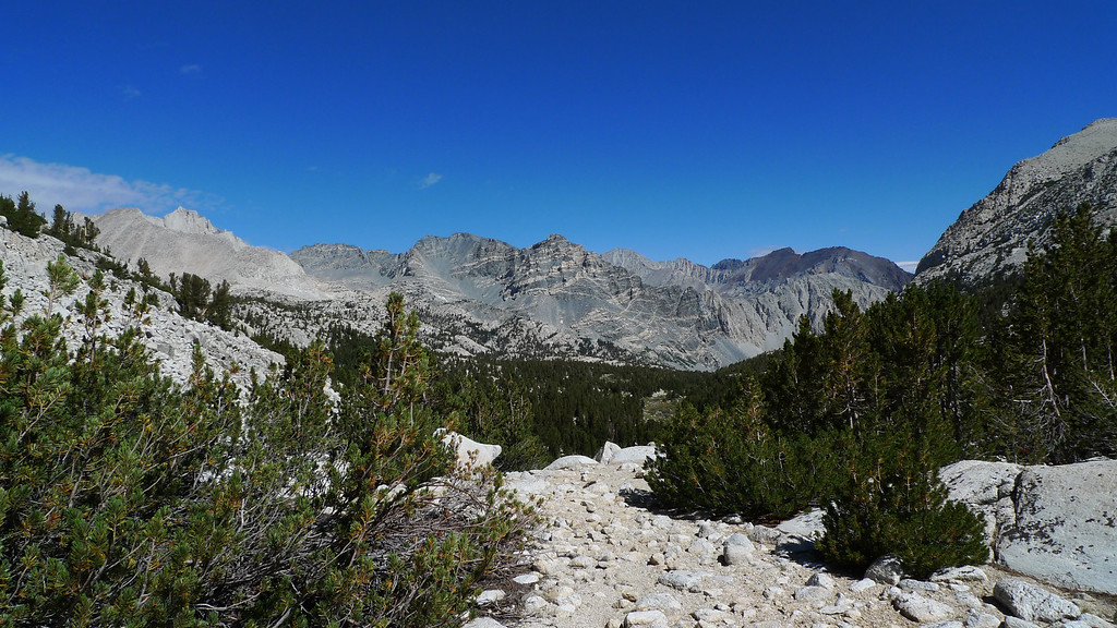 Nice view down towards the peaks above Honeymoon and Pine lakes