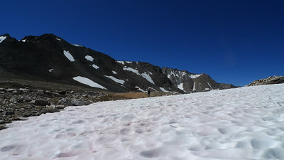 A large snowfield before taboose pass