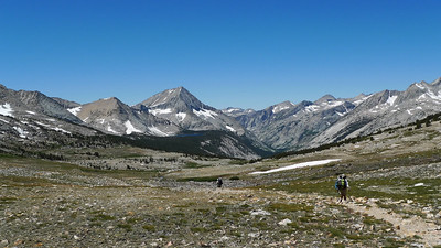 What a view! We head west towards Bench Lake, visible near the center of the photo (literally sitting on a bench). Tomorrow we'll climb Arrow Peak, the peak that dominates our view from the Pass.