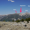 Ten Lakes Pass Panorama with Peaks labelled (W to E) - 2 of 5