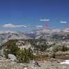 Ten Lakes Pass Panorama with Peaks labelled (W to E) - 4 of 5