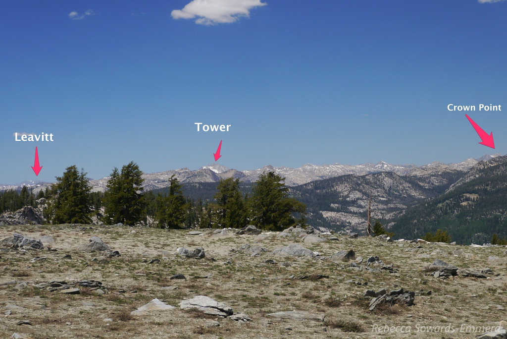 Ten Lakes Pass Panorama with Peaks labelled (W to E) - 1 of 5