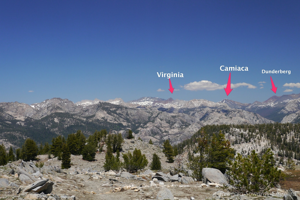 Ten Lakes Pass Panorama with Peaks labelled (W to E) - 3 of 5