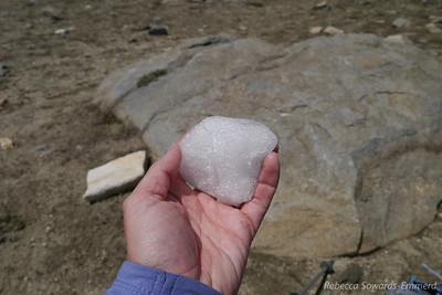 So, it was really hot out. I found a perfect cooling solution. Step 1: make a snowball (there were still a few small snow fields near the pass).