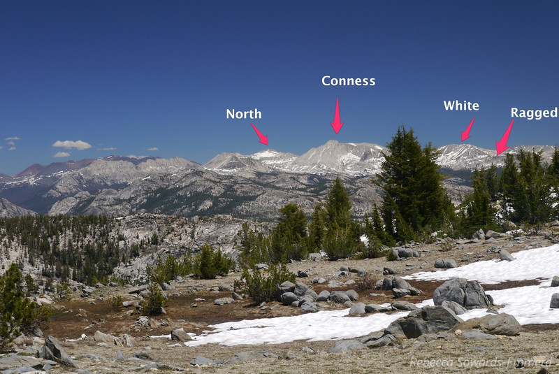 Ten Lakes Pass Panorama with Peaks labelled (W to E) - 5 of 5