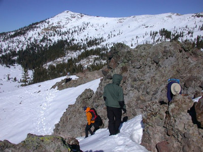 Descending from outcropping