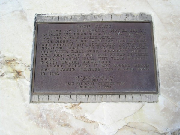 Plaque commemorating history of movies in the Alabama Hills