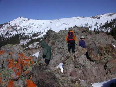 Patrick, Bex, and Steve at outcropping on ridge leading to Castle Peak