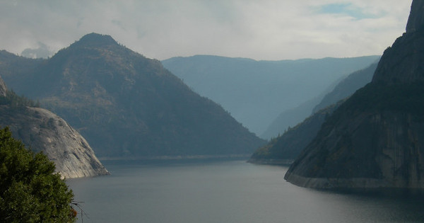 Smoke and clouds over Hetch Hetchy Reservoir