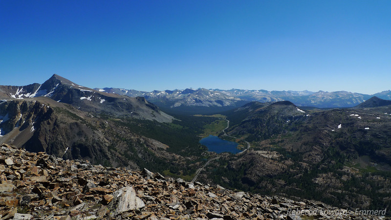 Tioga Lake, Tioga Road, and mount Dana (on the left)
