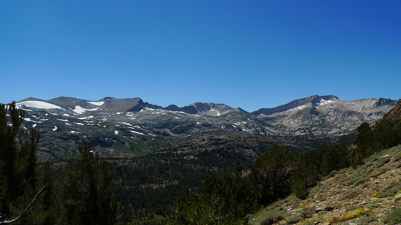 View towards conness from the trail. The route to Tioga Peak starts along trail - it goes cross-country towards the end.
