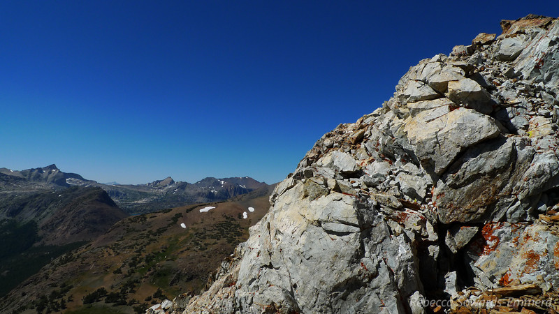 Small pile of rock just below the summit