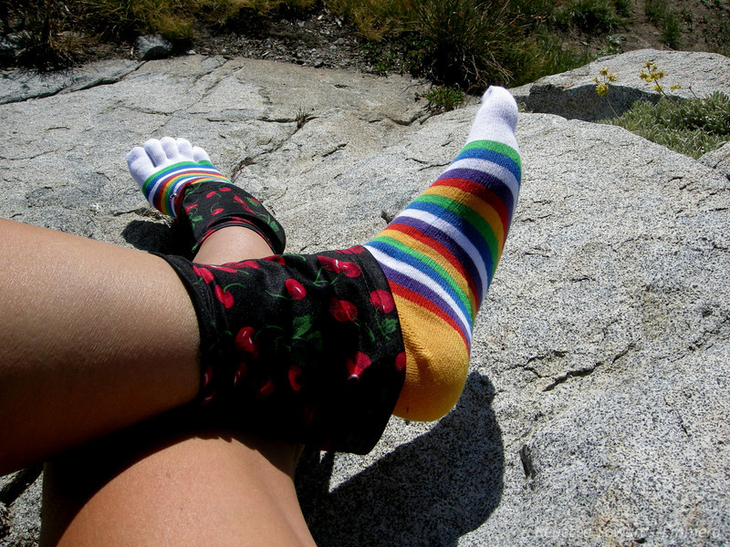 "My comical feet: Dirty Girl Gaiters  <a href=""http://www.dirtygirlgaiters.com/"">http://www.dirtygirlgaiters.com/</a>) and a brand spankin new pair of Injinji toe socks  <a href=""http://www.injinji.com/"">http://www.injinji.com/</a>), now available in rainbow colors!"
