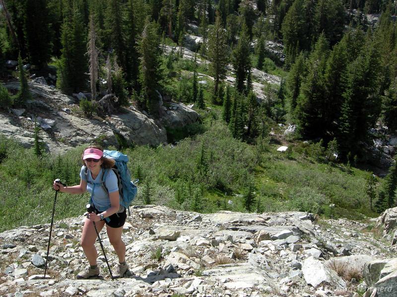 Pavla on her way up to Cabin Lake.