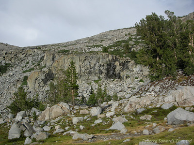 Behind our camp at the lake below Donohue Pass - a nice waterfall provided some white noise.