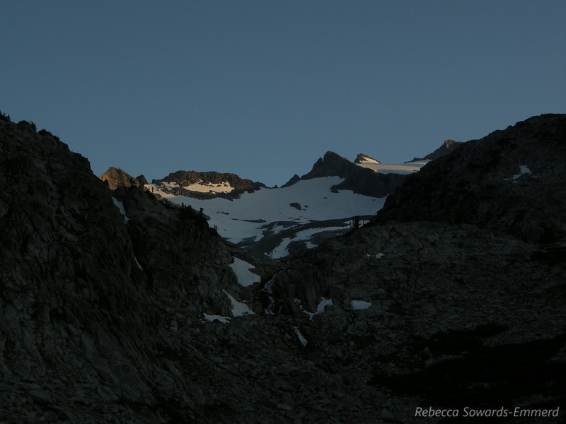 Lyell Glacier/Range at sunset.