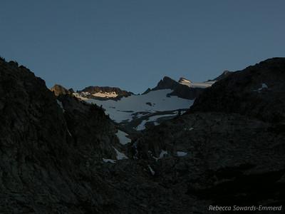 Lyell Glacier/Range at sunset.