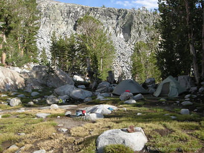 Our campsite. We set up and within minutes the storm started. For about an hour we napped through thunder, lightning, and hail. By about 5:30 pm everything was clear and warm again. I love those afternoon sierra storms!