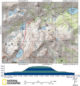 Map of the afternoon's dayhike up to Iceberg Lake.