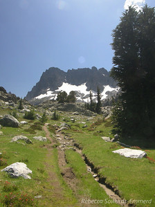 Trail through beautiful meadows and the Minarets in the distance.