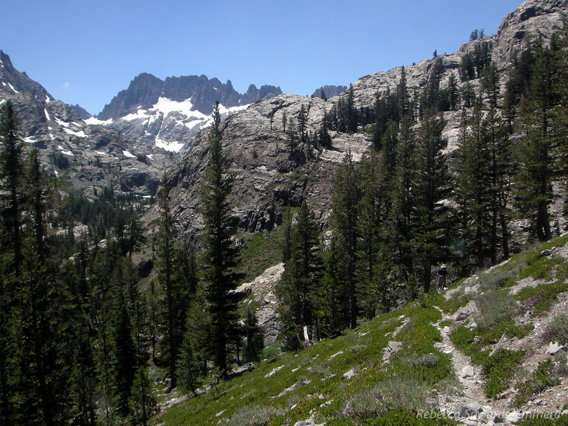 Heading back down the rough trail to camp - MInarets in the distance.