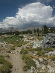 See - there is a big thunderhead back over Donohue Pass now.
