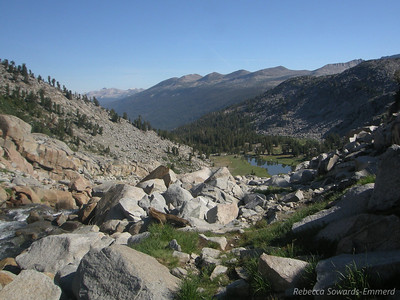 Looking back down on the lake where we camped from the outlet of the upper lake.