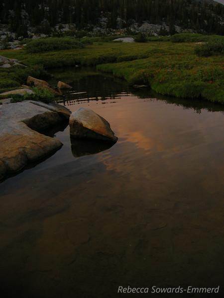 Sunset reflection on the shores of Thousand Island Lake