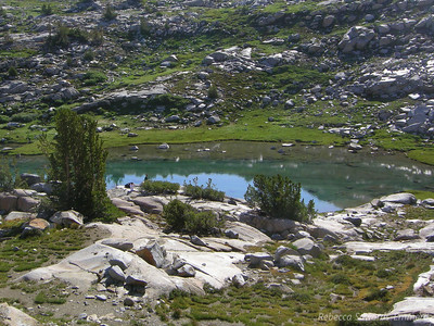 We approach the upper lake - it's a deep turquoise color. Pretty!