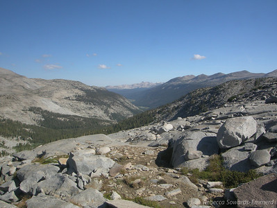 Looking back down Lyell Canyon - where we hiked the previous day. Northern Yosemite peaks visible in the distance.