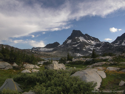 The storms back away from Banner Peak during the evening hours.