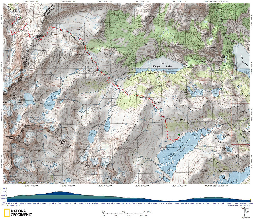 Today's map and elevation profile - from camp, over Donohue Pass, by Rush Creek, over Island Pass, and down to camp at Thousand Island Lake.