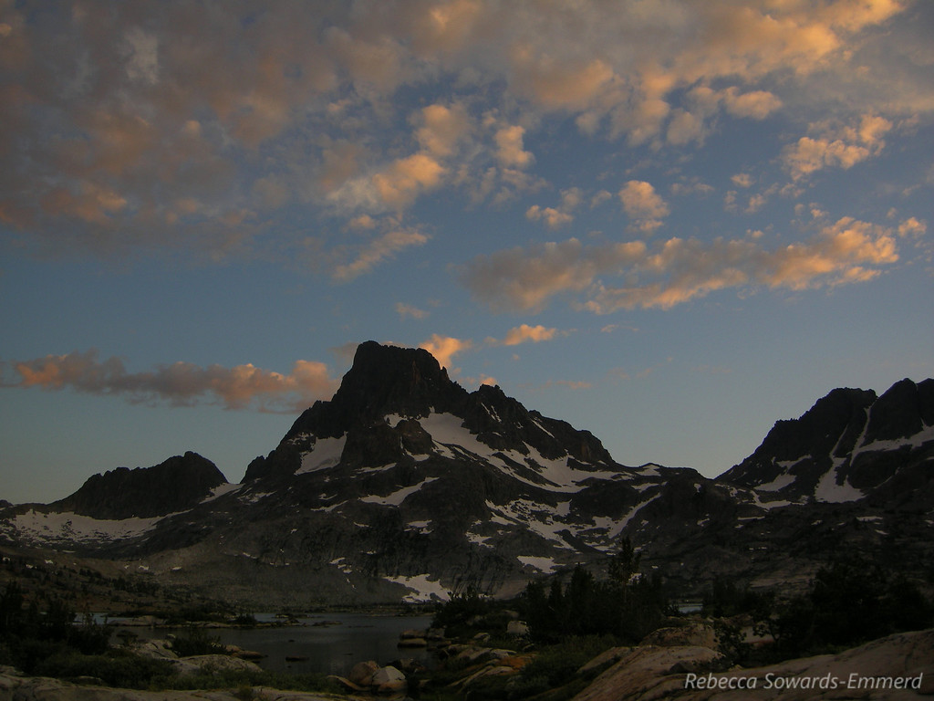 Just a few poofy high clouds left over Banner Peak.